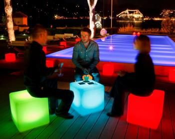 Outdoor LED Lighted Cube Chair - Super cool for a low price.