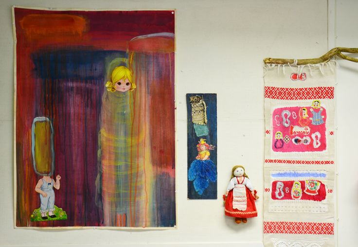 Dreams, gouache, mixed media, 2014, Eva♥Adam, mixed media, 2015, My lovely regional dolls, mixed media, redy made, 2015, Annukka Mikkola
