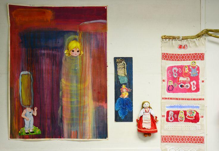 Dreams, gouache, mixed media, 2014, Eva<3Adam, mixed media, 2015, My lovely regional dolls, mixed media, redy made, 2015, Annukka Mikkola