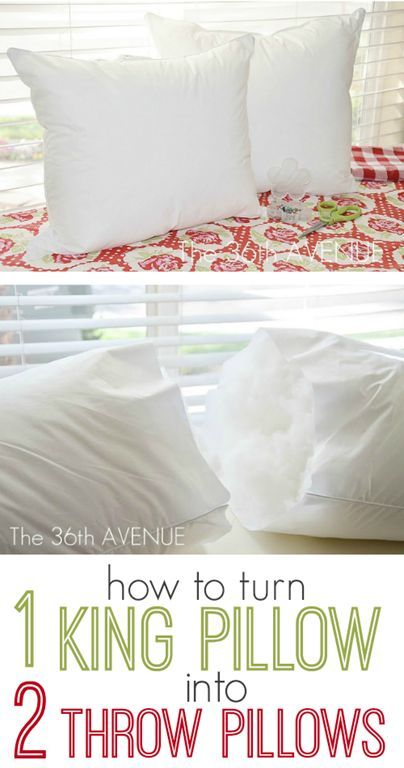 How to Turn a King Sized Throw Pillow into TWO throw pillows. Sewing Pinterest Crafts ...