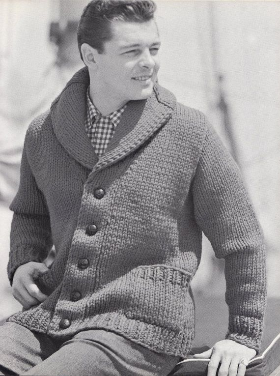 Knit Mens Cardigan with Shawl Collar Vintage Knitting by padurns, $2.50
