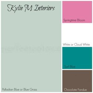 palladian blue or blue grass paint palette for girls or babys room using pink and chocolate brown