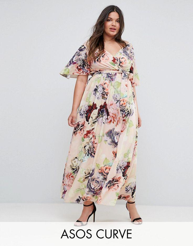 ASOS CURVE WEDDING Print Soft Flutter Sleeve Maxi Dress - Multi