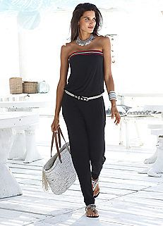 Black Crochet Trim Bandeau Jumpsuit by s.Oliver