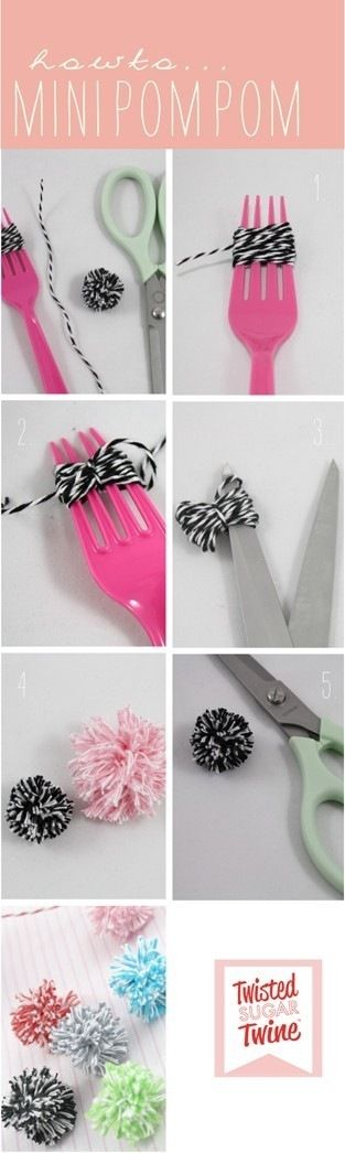 How to Make a Mini Pom Pom with a Fork - via Sussle. Guidecentral collects great ideas for all DIY passionates. Follow and visit @Guidecentral. #DIY #pompom #craft #guidecentral