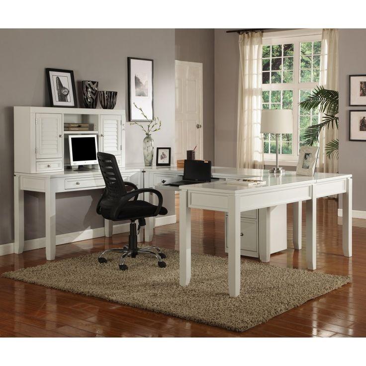 Parker House Boca U Shaped Desk With Hutch   Cottage White   Modern   Desks    Hayneedle