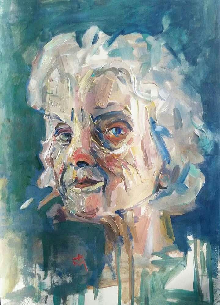 """Old woman""acrylic portrait"