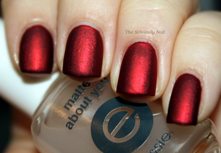 Kleancolor Metallic Red with 1 coat of Essie Matte About You. It looks like silk taffeta.