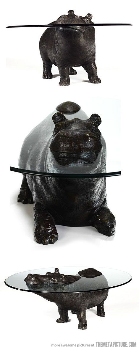 Hippo Table - so adorable to have a hippo peeking at you while you sit at this table! I want this for Christmas! Ha!