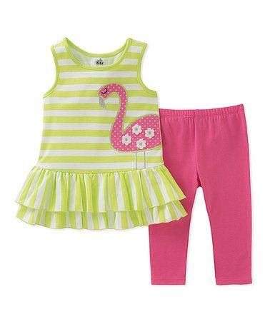 Another great find on #zulily! Green Stripe Flamingo Tank & Leggings - Infant, Toddler & Girls #zulilyfinds