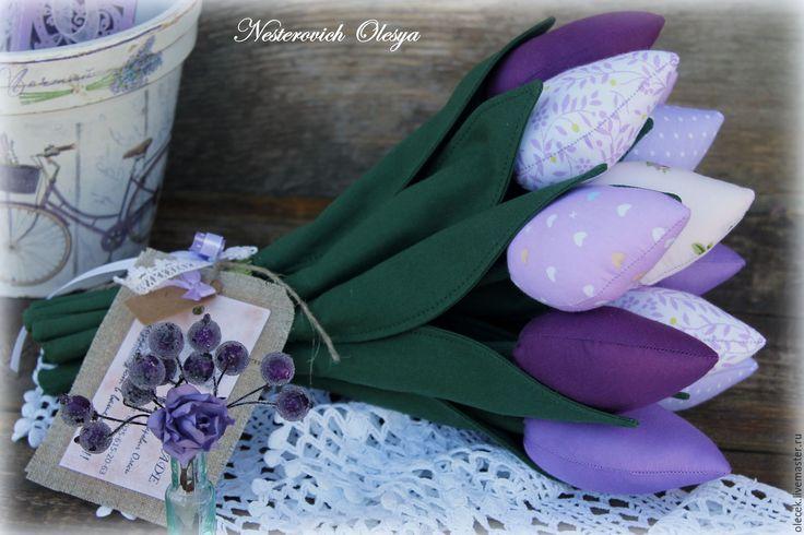 Купить Тюльпаны текстильные. - тёмно-фиолетовый, тюльпаны тильда, тюльпаны текстильные, тюльпаны