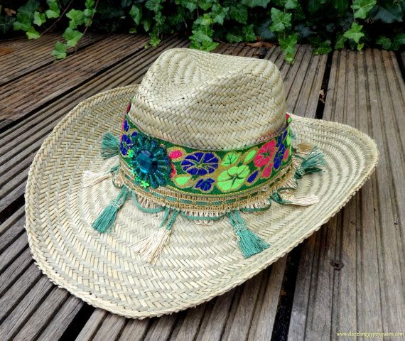 Cowboy Hat - B01    Unique and Trendy Gypsy Cowboy hat designed with colorful trims.    This is a one of a kind, unique and handmade Straw Cowboy Beach Hat....    ***  My items are shipped in a padded envelope or box via TNT and items above $100 always send as registered mail.  If you want secure shipping, please let me know.....    More information about shipping & other rates you can find on my POLICIES page under SHIPPING…