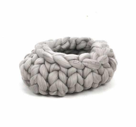 Wool basket / cocoon  LIGHT GRAY  ductile   photo prop