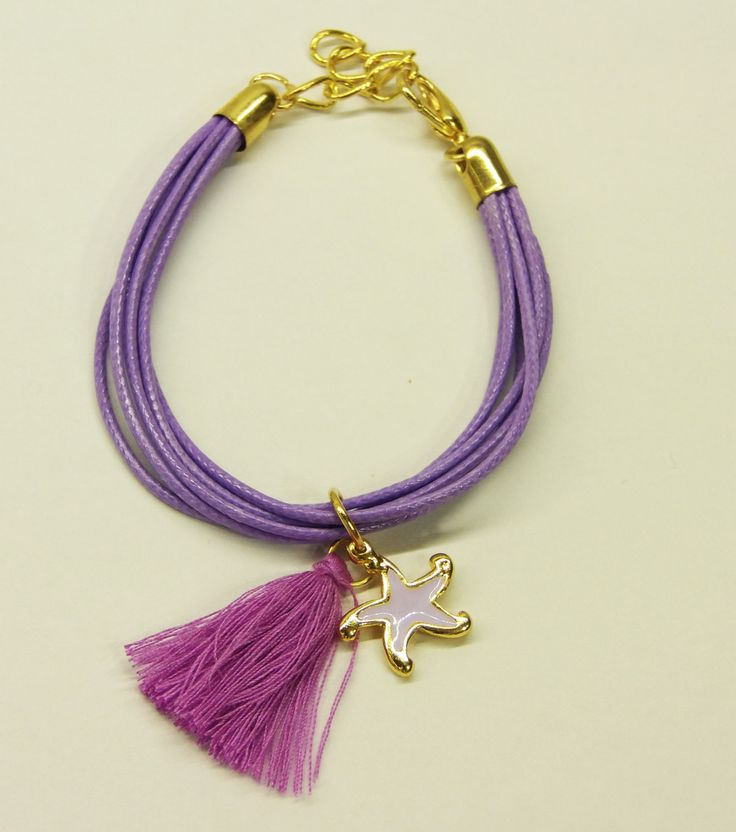 Handmade bracelet/purple cord/base metal starfish charm/gold plated/24 carats/purple enamel/purple tassel by CrownedCharm on Etsy