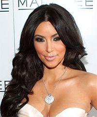 Kim Kardashian lange gewellte formale Frisur - dunkle Brünette Haarfarbe