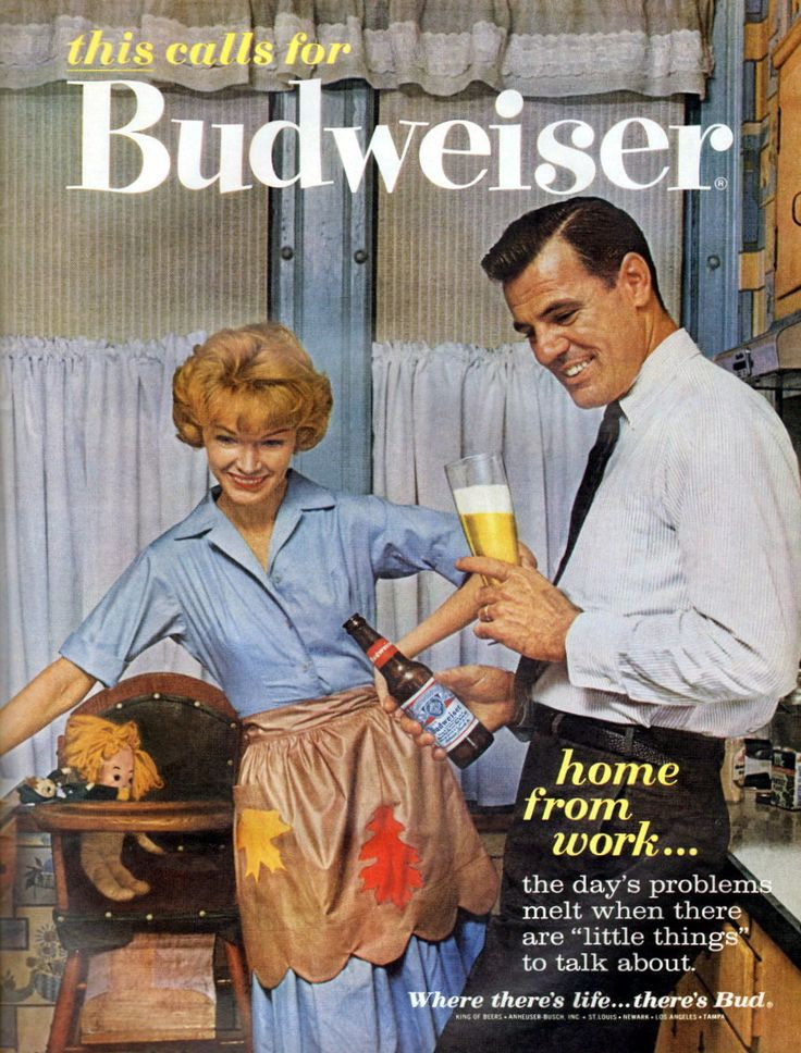 """1962 Budweiser Beer Ad """"home from work"""" 
