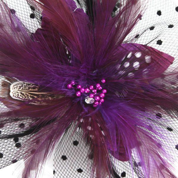 Purple Lace Feather Veil Mesh Costume Fascinator Headpiece with Clip