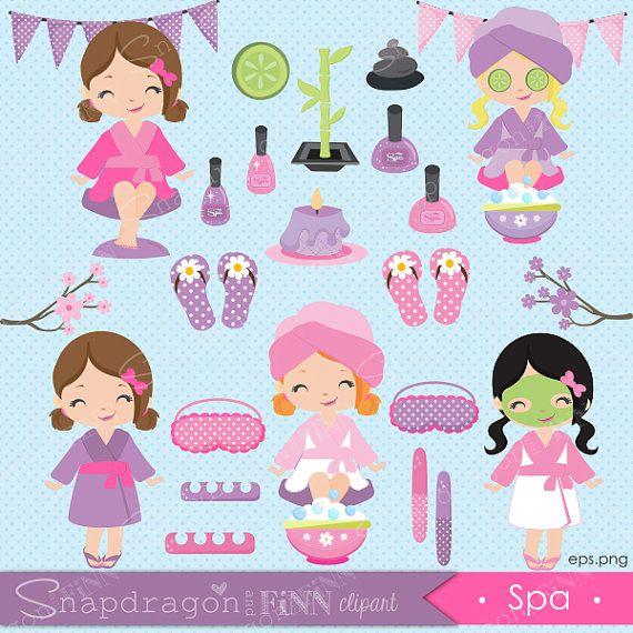 Spa clipart Spa girls clipart Manicure by snapdragonandfinn