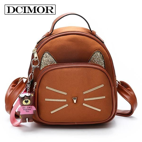 8d635fbc347b DCIMOR New Velour Backpack For Teenage Girls School Bags With Embroidered  Cat Whiskers And Ears