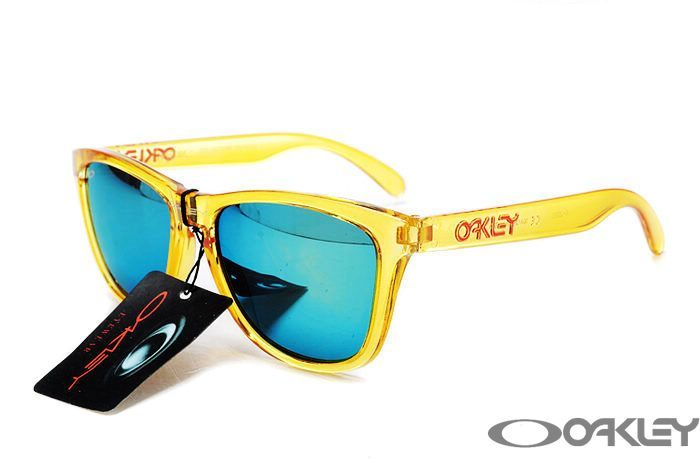 $12.80 oakley frogskins clear yellow sunglasses blue iridium