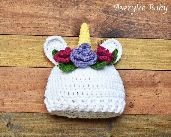 99d1ac836 Unicorn Crochet Hat, Crochet Baby Unicorn Hat, Infant Unicorn Cap ...