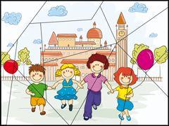 Puzzel, kinderen met ballon / Puzzle à imprimer - les enfants et les ballons