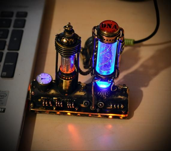 New Motorized Steampunk flash drive molecule DNA + NIXIE Lamp filament indicator (numitron) IV-9, steampunk usb flash drive