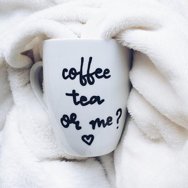 #coffee #tea or #me #cozy #blanket #blackandwhite #coffeetime #mug #instagood #instamood #sunday #cliche #cliche_mugs