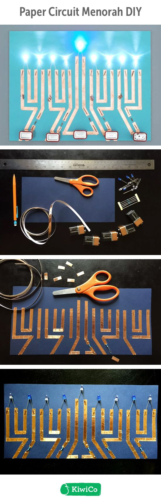 Create a menorah using copper tape and LED lights. This Hanukkah DIY craft is great for all ages. It's an interesting challenge for kids to tackle. Light up your home with this STEM/STEAM paper circuit menorah DIY.
