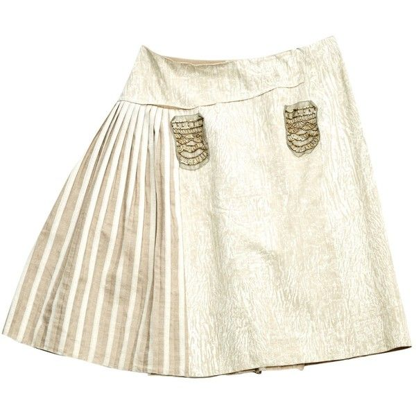 Pre-owned Prada Linen Mini Skirt (103,815 KRW) ❤ liked on Polyvore featuring skirts, mini skirts, beige, women clothing skirts, white mini skirt, short sequin skirt, white skirt, linen skirt and white sequin mini skirt