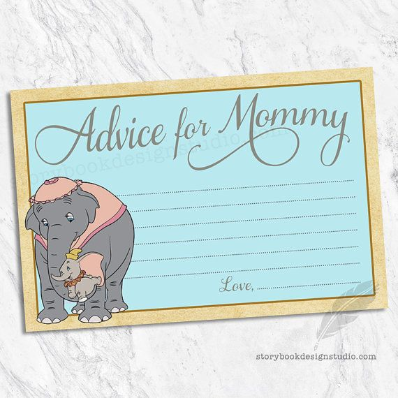 Dumbo Advice For Mommy Cards, Elephants, Classic, Instant Download, You  Print. Dumbo Baby ShowerDisney ...