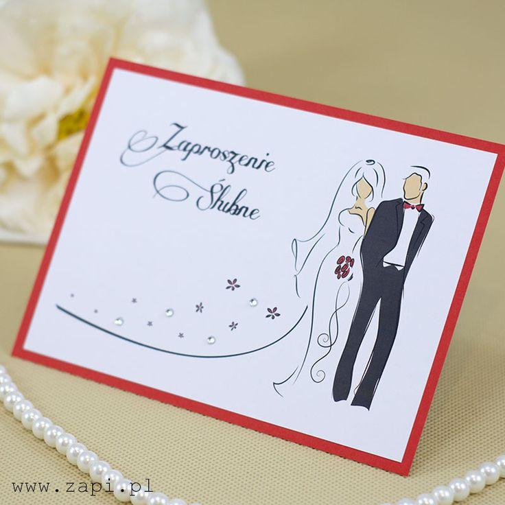 Eleganckie zaproszenie ślubne z Parą Młodą i lśniącymi kryształkami
