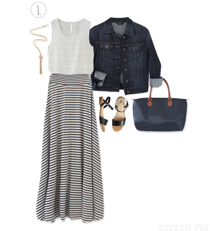 The Weekend Getaway Maxi Skirt-- like the skirt and the look.  Have a denim jacket and similar necklace.