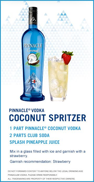 Check out this Pinnacle(R) Vodka Drink Recipe: Coconut Spritzer!