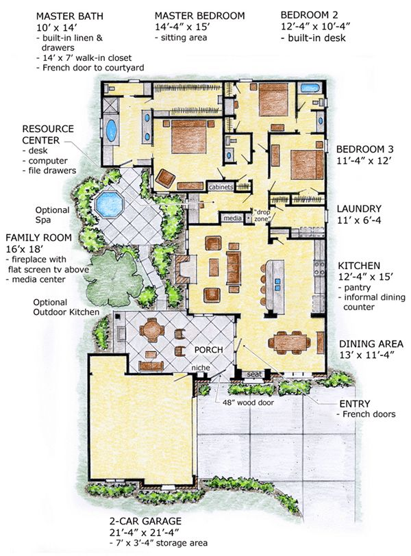 First floor plan of florida mediterranean southwest house for Southwest house plans with courtyard