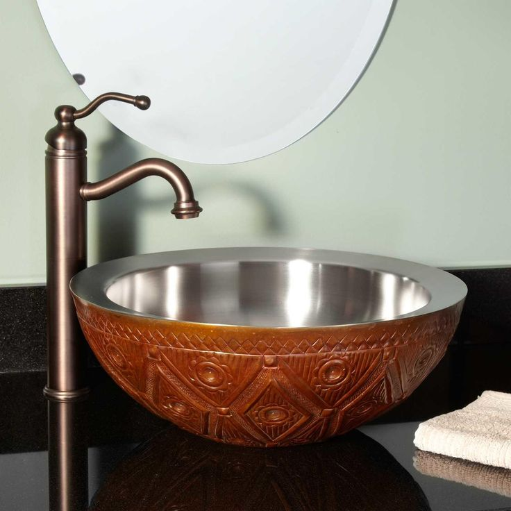 Floral Double-Wall Copper Vessel Sink