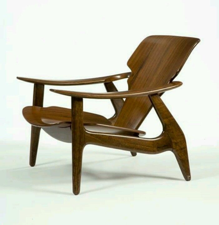 Attractive Lounge Chair In Tauari Frame With Imbuia Veneer On Seat And Backrest    Design By Sergio Rodrigues   Brazil