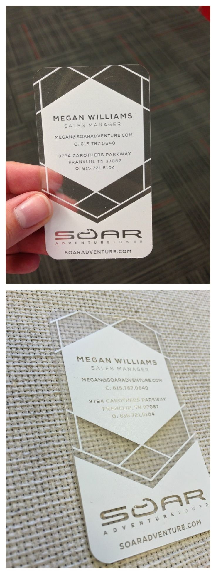 Plastic (acrylic) business cards with white ink
