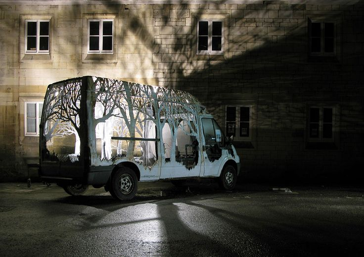 Forests Cut into Vehicles and Street Signage by Dan Rawlings