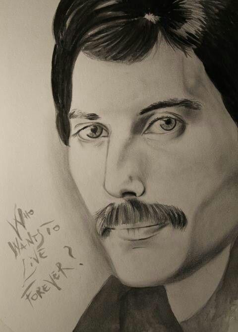 Freddie Mercury - pencil and watercolor