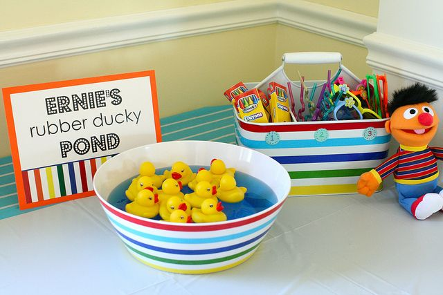 Ernie's Rubber Ducky Pond game: Each duck had a number labeled on its belly that corresponded to three different prizes.  Kids could match up the number duck they chose and claim a prize.