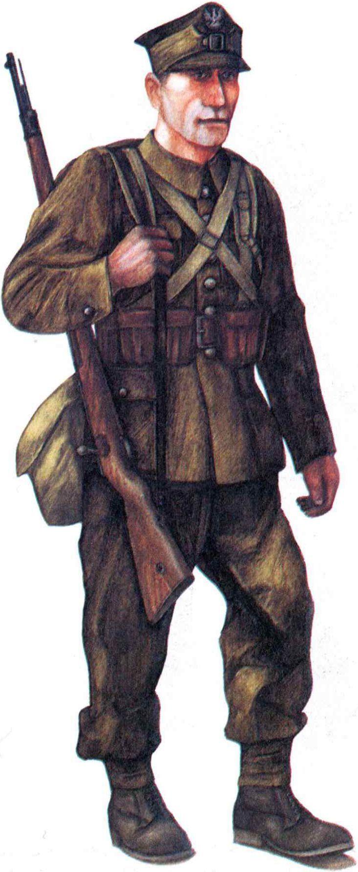 Polish Army infantryman 1939 with 7,92-мм «Mauser»  1898 rifle - pin by Paolo Marzioli