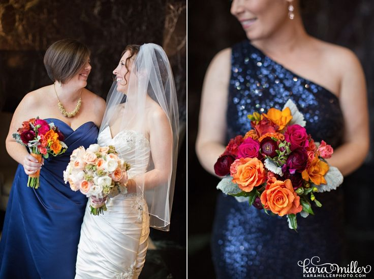 colorful bridesmaid bouquet with ranunculus, roses, coxcomb and freesia