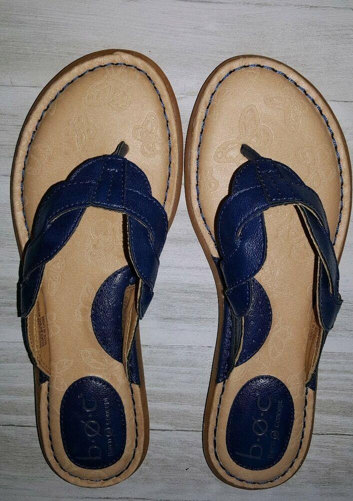 9bc0d47c8d47 BOC Born Concept Womens Navy Blue Thong Flip Flops Sandals Size 7 .