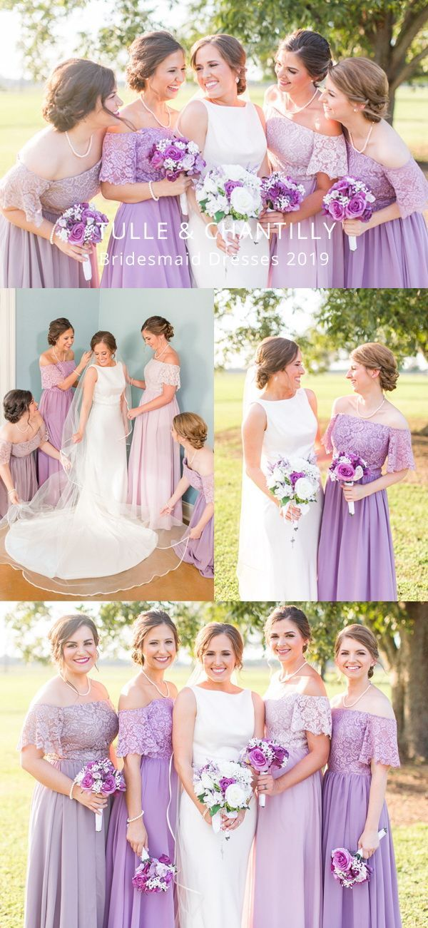 Gorgeous Lace Off The Shoulder Bridesmaid Gown With Chiffon Skirt Tbqp402 Lilac Bridesmaid Dresses Bridesmaid Gown Off Shoulder Bridesmaid Dress
