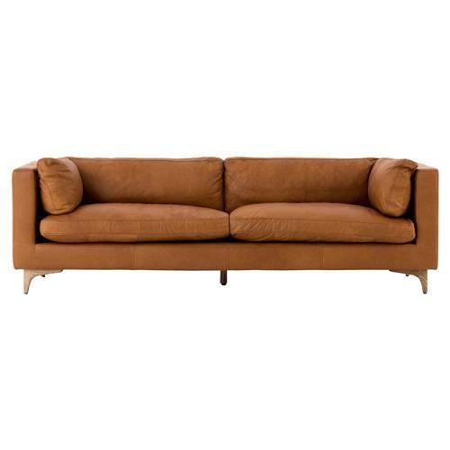 Awe Inspiring Davenport Mid Century Modern Tan Leather Cushion Back Sofa Pdpeps Interior Chair Design Pdpepsorg