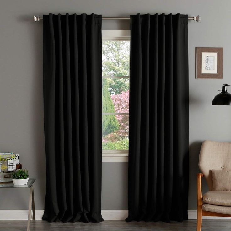 Aurora Home Solid Thermal Insulated 108-inch Blackout Curtain Panel Pair (Black), Size 52 x 108
