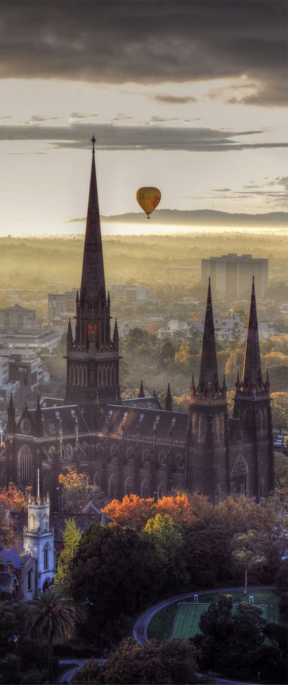 Autumn ~ Hot Air Balloon over St Patrick's Cathedral, Melbourne, Australia