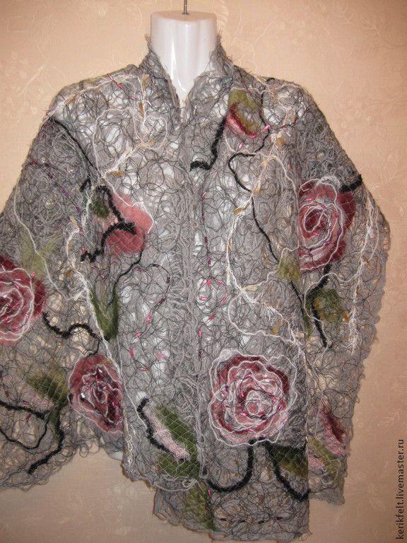 """Купить Ажурный шарф """"Серая роза"""" Crazy Wool - серый, шарф, женский шарф"""