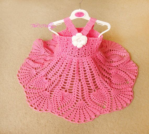 Pink Crochet baby dress Handmade girl dress White by TheCCVillage, £29.00